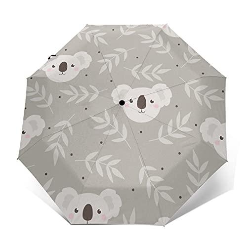 Paraguas plegable de viaje Koala gris a prueba de viento plegable paraguas...