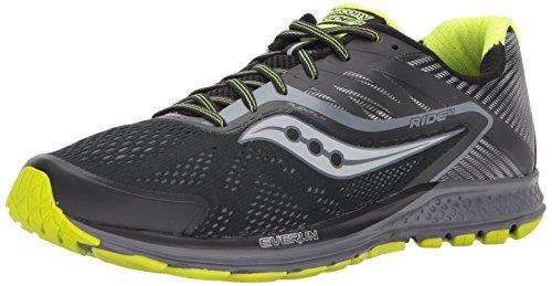 Saucony Men's Ride 10 Running Shoe, Black Citron, 14 M US