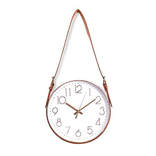 DC Wesley Cinturón Creativo Decorativo Reloj De Pared De La Sala De Estar Minimalista De Silencio Relojes De Cuarzo Relojes De Pared De Metal Decoración del Hogar 31cm * 63cm (Color : Gold)