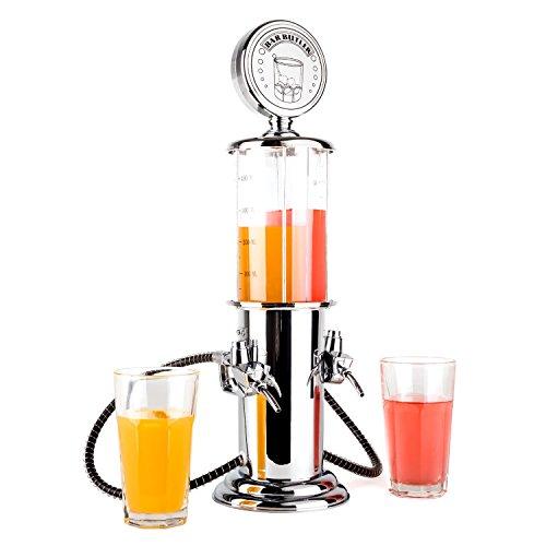 Oneconcept Dispensador de Bebidas Aspecto de dispensador de Gasolina, 2 x 450ml, Plateado