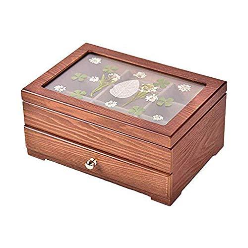 ZLSP Caja de joyería, joyería de Madera de la Caja del Caso de exhibición de Anillos, Pendientes, Collar, Las Pulseras Organizador de la joyería Cajas de Almacenamiento (Size : 2)