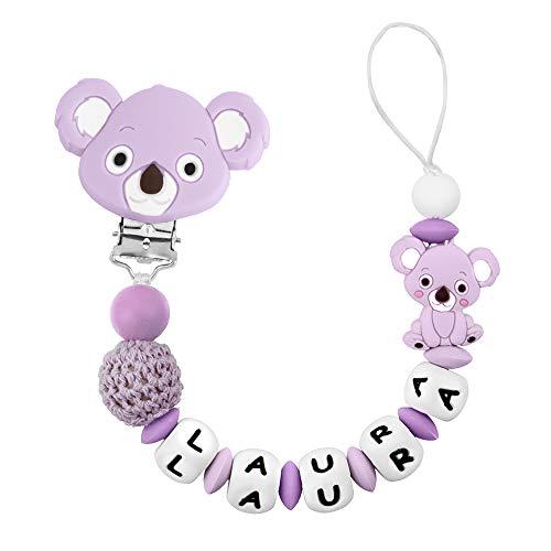 RUBY - Catenella Portaciuccio per Bebè Personalizzato con Nome, Perline Antibatterica in Silicone con Clip in Acciaio Inossidabile Catenelle Porta Succhietto Koala (Lilla)