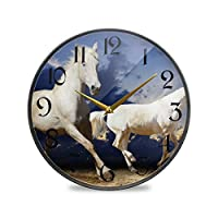 12インチ丸い壁時計非カチカチ音を立てないサイレントバッテリー式オフィスキッチン寝室家の装飾-白い馬の動物の空