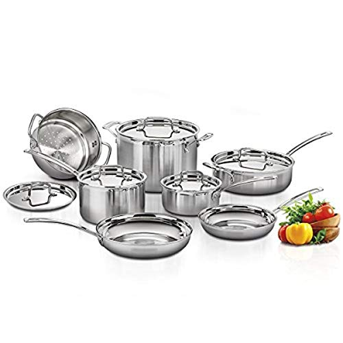 CUISINART MCP-12NCC MultiClad Pro Stainless Steel 12-Piece Cookware Set, Silver