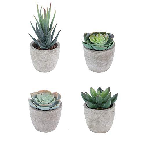 Homcomodar 4 Stück Künstliche Sukkulenten Pflanzen mit Töpfen Mini Dekorative Künstliche Pflanzen Blumen für Büro-Desktop-Dekoration