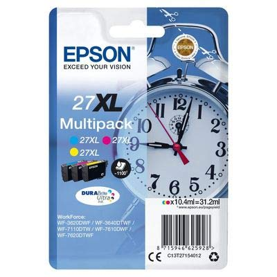 Epson Original 27XL Tinte Wecker (WF-3620DWF WF-3640DTWF WF-7110DTW WF-7210DTW WF-7610DWF WF-7620DTWF WF-7710DWF WF-7715DWF WF-7720DTWF, Amazon Dash Replenishment-fähig) Multipack 3-farbig