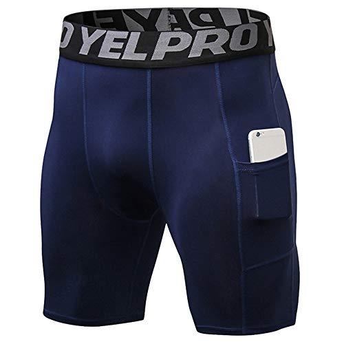 Bliefescher Herren Sportswear Unterhose kurz Sport Leggings Schnell Trocken Yoga Workout Laufen Fußball Fitness Strumpfhose (L, dunkelblau mit Taschen)