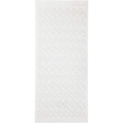 Autocollants, feuille 10x23 cm, blanc, sucettes, 1flles