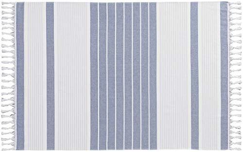 Crivit® Pareo Strandtuch aus Reiner Baumwolle (blau weiß gestreift, ca. B 100 x L 145 cm)