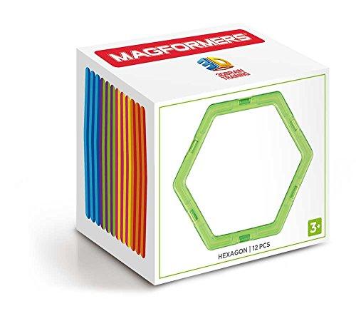 Magformers Hexagon 12 Pieces Rainbow Colors, Educational Magnetic Geometric Shapes Tiles Building STEM Toy Set Ages 3+