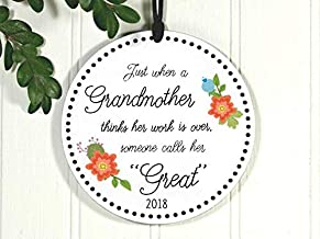 Rainbow Store Great Grandma First Christmas Just When A Grandmother Thinks Work is Done Exclusive 3 5/8 Inch Porcelain Christmas Ornament Ceramic Ornament