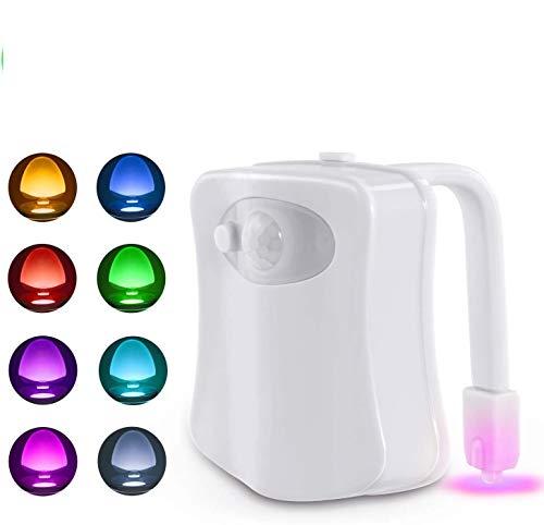 Hinter WC-Nachtlicht, Bewegungsaktiviertes WC-Nachtlicht, Sensor beleuchtet, batteriebetrieben, Bewegungsmelder, LED-Waschraum Nachtlicht – passt auf Jede Toilette, 8 Farbwechsel