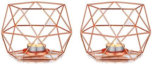 Cozywind 2 Pezzi Portacandele, Geometria Decorazione (Oro rosa)