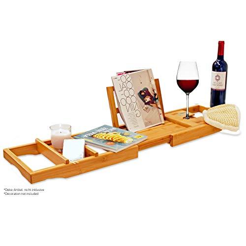 Bambus Badewannenablage – Badewannenauflage – Badewannenregal. Aus Bambus Holz, stabil und ausziehbar. Für Tablet, Laptop + Buchstütze, Halterung für Glas und Handy. Hochwertig und vielseitig.