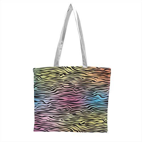 Plain Canvas Tote Bag,Zebra Print Colorful Zebra Pattern Animal Wilderness Themed Stylized Artwork Print,Perfect Picnic Tote Bags Yellow Coral Pink