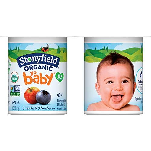 Stonyfield Organic YoBaby Yogurt Cups, Apple & Blueberry, 6 Ct - Nutritious, Non-GMO, Whole Milk...