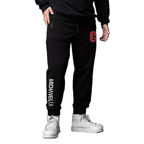 Herren Hose Jogger Cargo Hosen Hip Hop Stil Stretch Sporthose Jogginghose Basic Slim Fit Freizeithose mit Elastischer Bund Schwarz 7XL