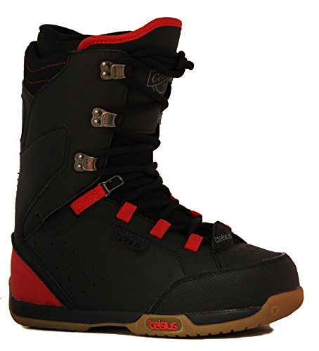 Celsius Men's Cirrus Traditional Lace Snowboarding Boots, Black/Red, 9.5