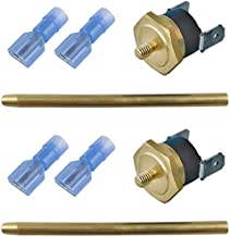 American Volt Electric Fan Push-in Radiator Fin Brass Probe Thermostat Temperature Switch Sensor Kit (2-Pack, 200'F On - 185'F Off)