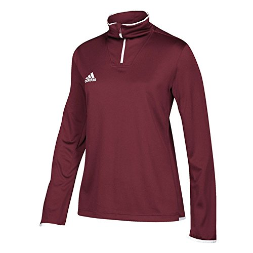 adidas Team Iconic Knit Long Sleeve Quarter-Zip Top - Women's Multi-Sport L Collegiate Burgundy/White