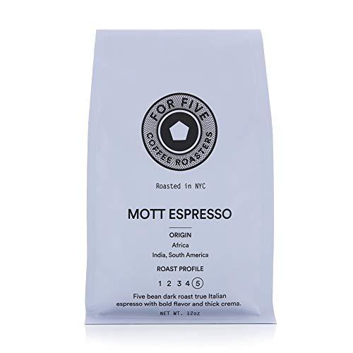 For Five Coffee Roasters - Roasted In NYC - Mott Espresso Dark Roast (Origin: Africa, India, South America), Ground 12 oz