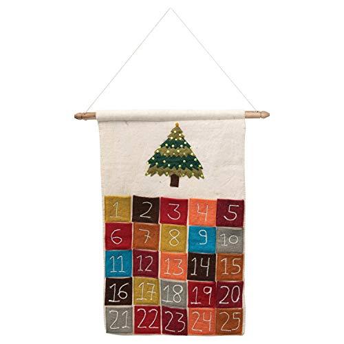 Creative Co-op Embroidered & Appliqued Hanging Felt Advent Calendar with 25 Pockets Hängedekoration für die Wand, Mehrfarbig