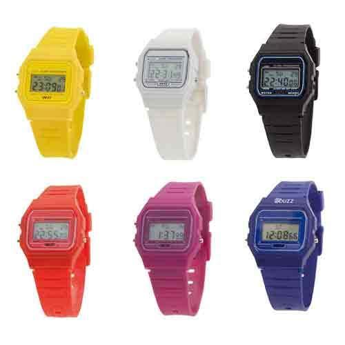 20 stuks digitaal horloge in retro design in casual kleuren. Met behuizing en bijpassende armband, stopwatch en verlicht display spatwaterdicht