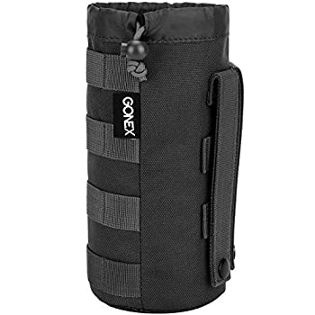 Gonex Tactical Military MOLLE Water Bottle Pouch Drawstring Open Top & Mesh Bottom Travel Water Bottle Bag Tactical Hydration Carrier Black