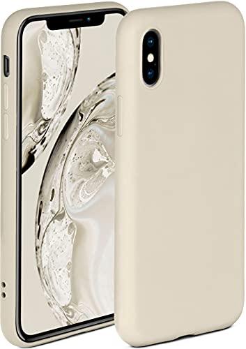 ONEFLOW Soft Hülle kompatibel mit iPhone X/iPhone XS Hülle aus Silikon, erhöhte Kante für Displayschutz, zweilagig, weiche Handyhülle - matt Creme