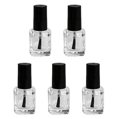 5pcs / pack 10ml bouteille de vernis à ongles vide avec brosse intérieur en forme de fournitures pour ongles bouteille de conteneur clair
