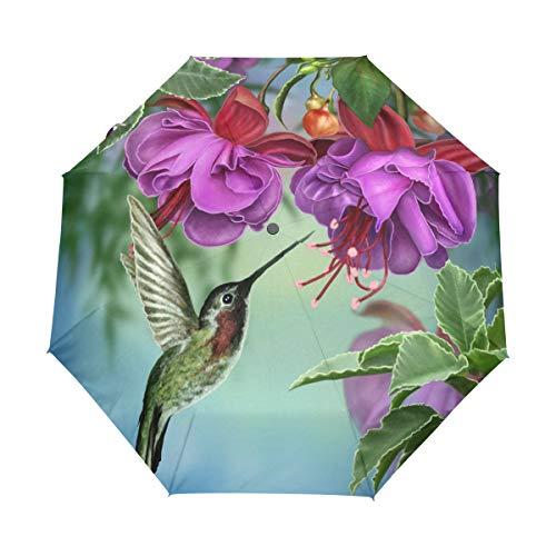Bigjoke Regenschirm, faltbar, automatisch, mit Vogel-Motiv, Winddicht, für Reisen, leicht, UV-Schutz, kompakt für Jungen und Mädchen