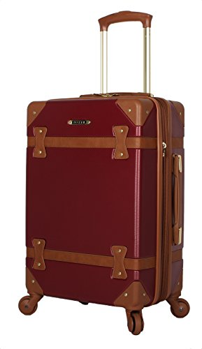 Rosetti Designer 20 Inch Carry On Luggage - Lightweight Expandable Hardside Suitcase - Wheels Made of 100% virgin PU Material - Small Vintage Bag with 4-Rolling Spinner Wheels (Burgundy)
