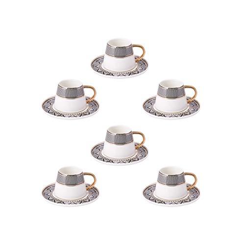 Karaca Globe Türkische Kaffeetassen Set Fur 6 Personen, 12 TLG.,6x Espressotasse und 6x Untertasse, Mokkatassen/ Espressotassen Set aus Porzellan, Kaffeetassen mit Untertasse-Espresso Set