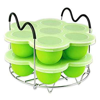 Silicone Egg Bites Molds for Instant Pot Accessories,Including Steamer Rack Trivet?Set for 6 qt & 8 qt Electric Pressure Cooker,Versatile Egg Poachers with Silicone Lid 2 PACK- Green