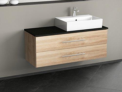 Aqua Bagno Flex de Muebles de baño 120cm con 2Secciones–Cerámica Lavabo Rectangular–Base de Soporte de Granito de–Roble Dorado