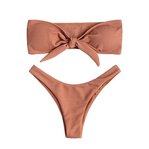 Joligiao Bikini Mujer Trajes de Baño Sexy Bandeau Bañadores Push-Up Banda Sin Tirantes con Cordón Conjunto de Bikini con Lazo Acolchado Ropa de Baño Bikini de Playa Una o Dos Piezas