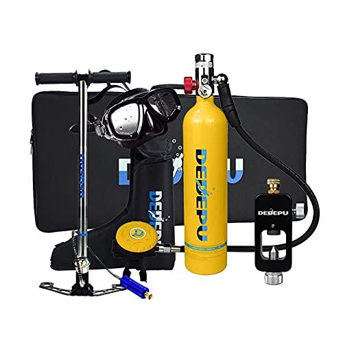 Equipo de Oxígeno para Bucear, Mini Botella de Buceo de 1 litro con Capacidad de 15-20 Minutos, con Bomba Respiración Bajo El Agua del Dispositivo con diseño Recargable