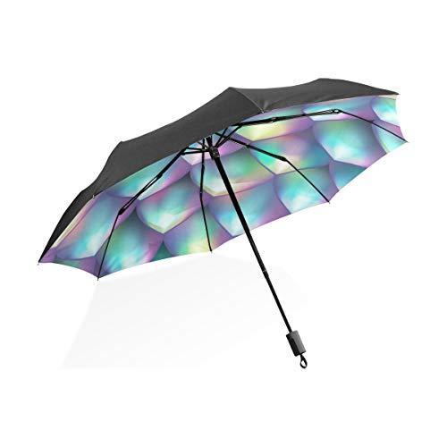 Kid Rain Umbrella Mermaid Tale Scale Weave Portable Plegable Umbrella Anti UV Protección a Prueba de Viento Viaje al Aire Libre Mujeres Niños Umbrella