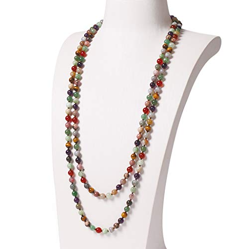 ZYLBDNB Collares Mujer 8 mm Grano Redondo de la Cadena del suéter del Collar 162cm Moldeado Largo de la Cadena de joyería Collar de decoración for los Regalos de cumpleaños de Las Mujeres