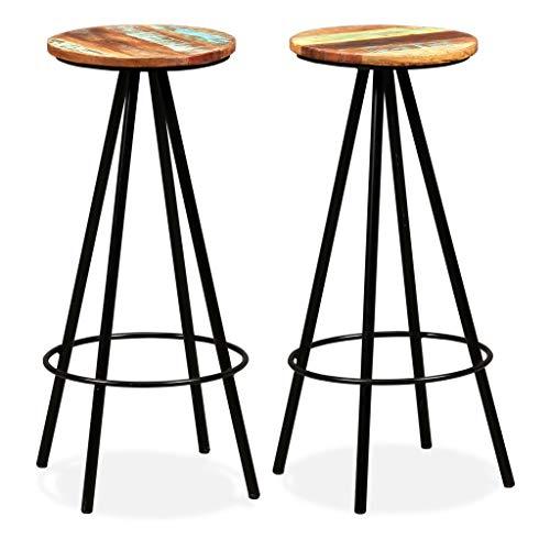 EBTOOLS 2X Taburetes Altos de Cocina, Taburetes de Bar Estilo Industrial, Asiento de Madera y Estructuras de Acero, 76 cm