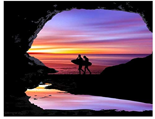 Yqgdss Hombre Sujetando Tabla De Surf Junto A La Cueva En El Atardecer Rompecabezas De 200 Piezas Rompecabezas De Desafío De Color para Niños Adolescentes Desafío De Cerebro Infantil