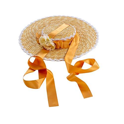 GRACEART Sombrero de Paja para niñas Lolita Té de la Tarde Pastoral Gorra Plegable Floppy Cosplay Sombrero para el Sol (Amarillo)