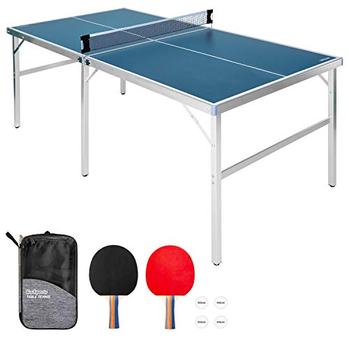 GoSports 6'x3' Mid-Size Table Tennis Game Set - Indoor/Outdoor Portable Table Tennis Game with Net, 2 Table Tennis Paddles and 4 Balls, Blue (PP-TABLE-6x3-BLUE)