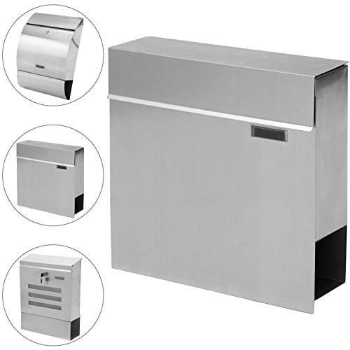 STILISTA Hochwertiger Briefkasten V2A Edelstahl Wandbriefkasten mit Zeitungsfach, Postkasten unterschiedliche Designs, Schwere Qualität (3-4 kg) - 40100040