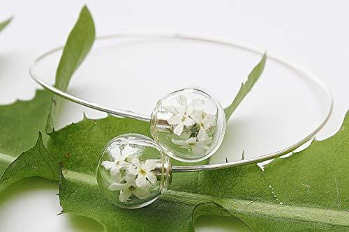 Echte Blüten Armreif Armspange Armband Pusteblume Blumen Braut Brautschmuck Hochzeit Geschenk Frau Schmuck Glas