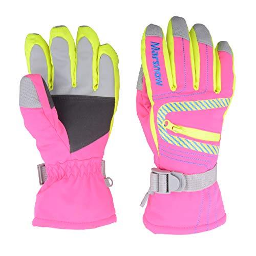 TRIWONDER wasserdichte Ski Snowboard Handschuhe Thermische warme Winter Schnee Ski Handschuhe für Männer, Frauen und Kinder (Rose Rot, S (6-8 Jahre))