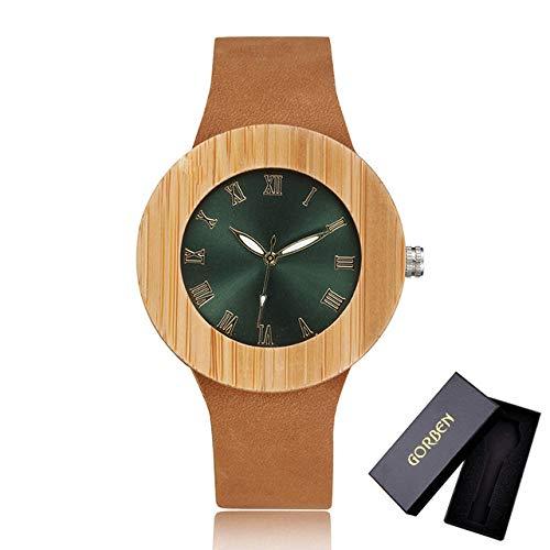 LOPIXUO Reloj de Madera de bambú para Hombre, para Mujer, diseño Creativo único, Reloj de Pulsera, Reloj de Cuarzo, para Hombre, Mujer, números Romanos, Relojes Redondos, W030 (withgorbenbox)
