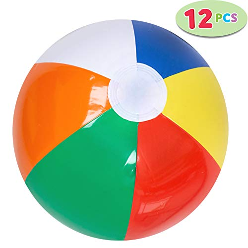 "JOYIN 12"" Rainbow Beach Balls (12 Pack); Inflatable 12pcs Beach Pool Party Toys"