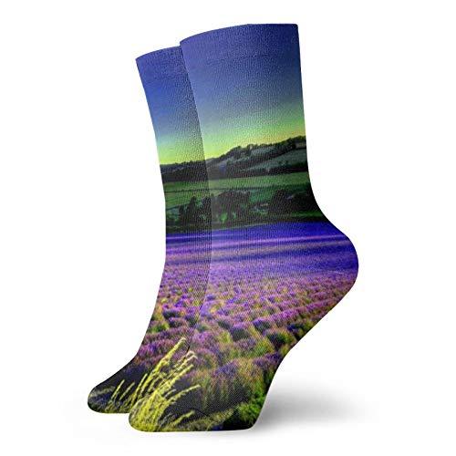 Field Of LavenderUnisex moda, novela, individual, suave, deportes y ocio calcetines