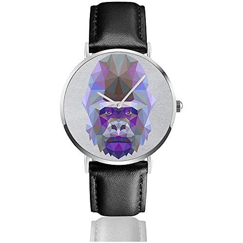 Unisex Geometric Animal Gorilla Uhren Quarz Lederuhr mit schwarzem Lederband